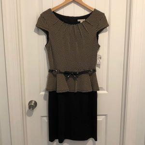 Dress Barn peplum polka dot dress size 10